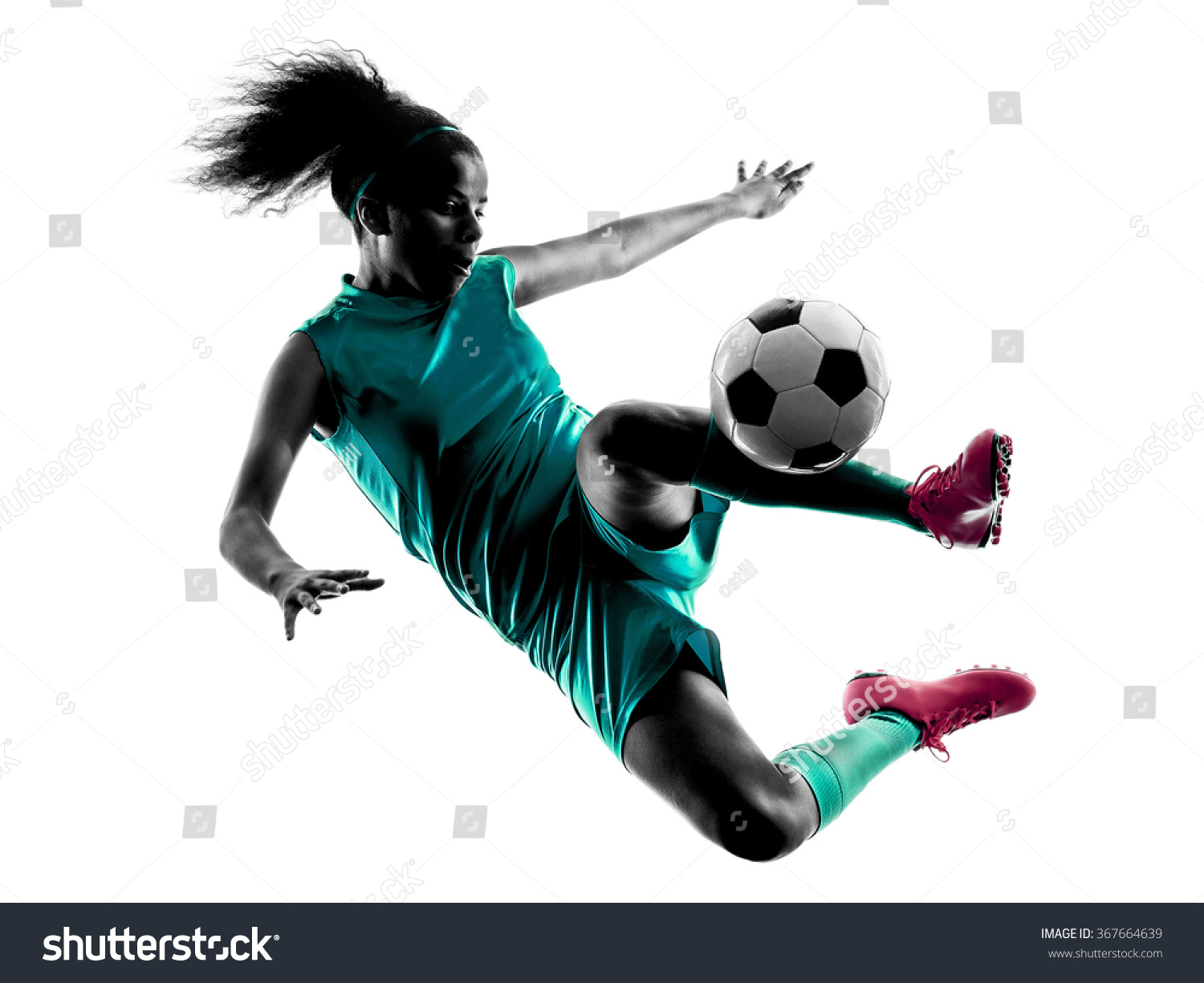teenager girl soccer player isolated silhouette stock photo 367664639