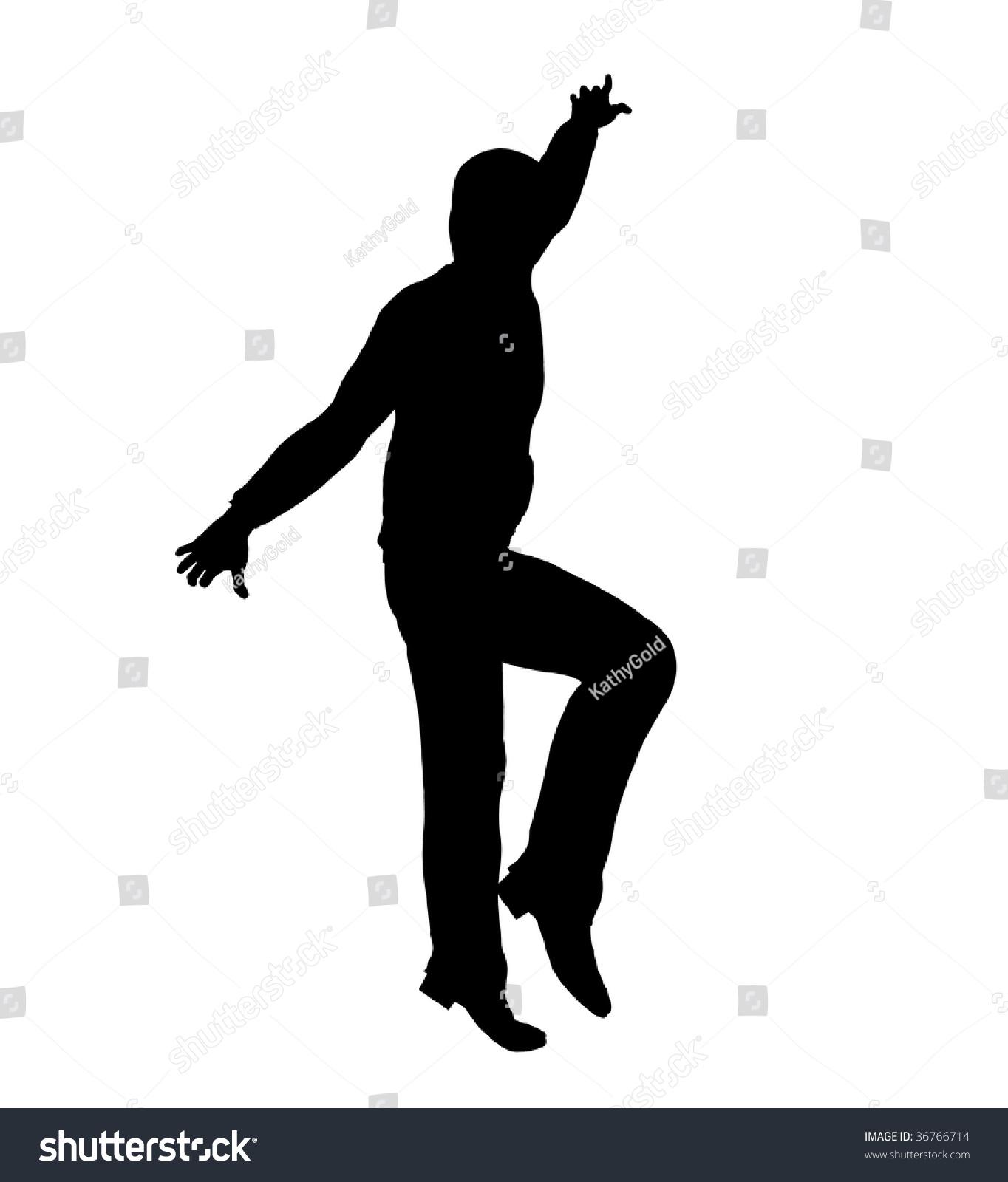 Urban Male Dancer Silhouette On White Stock Illustration ...