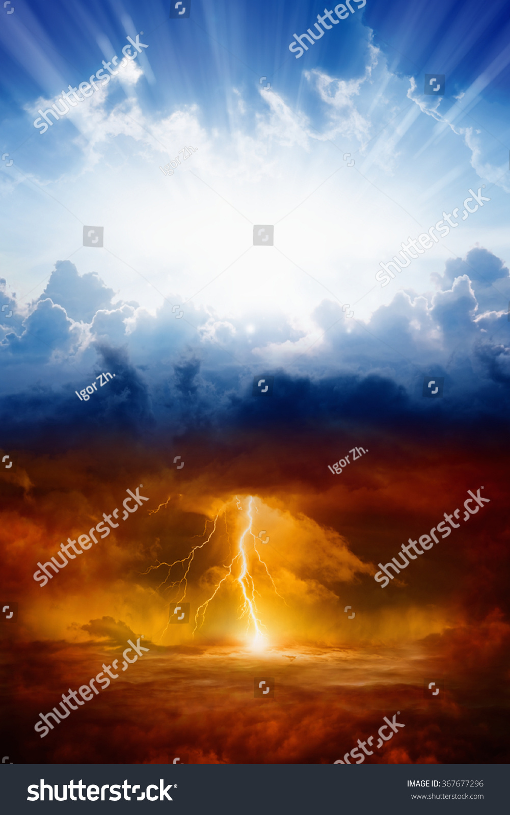 Religious Background Heaven Hell Good Evil Stock Photo