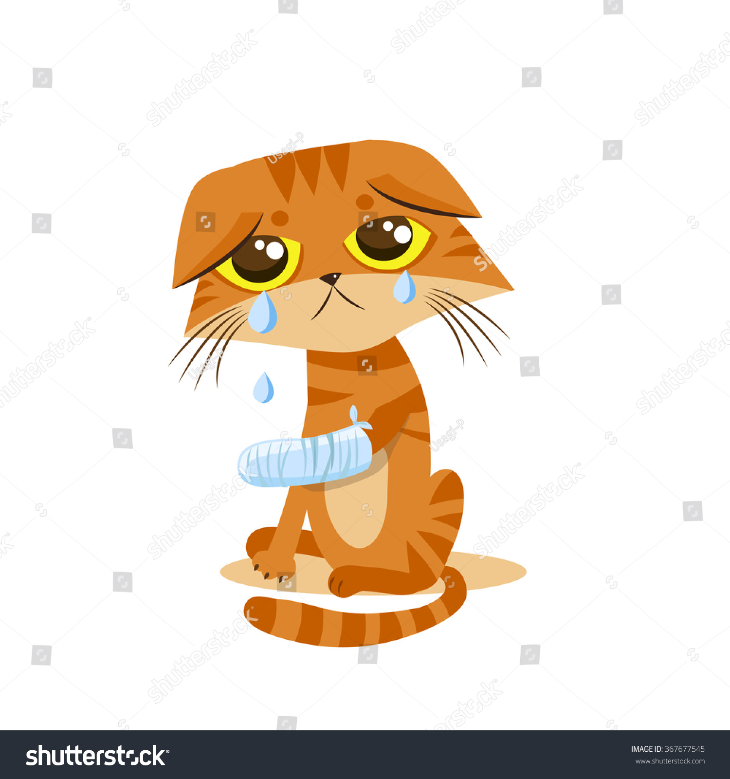 Sad Crying Cat. Cartoon vector illustration. Crying cat meme. Cat face ...