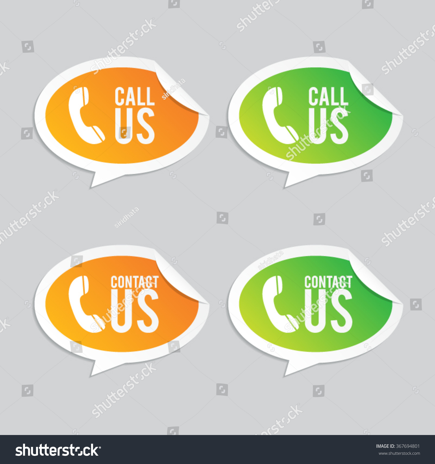 Call us and contact us speech bubble stickers