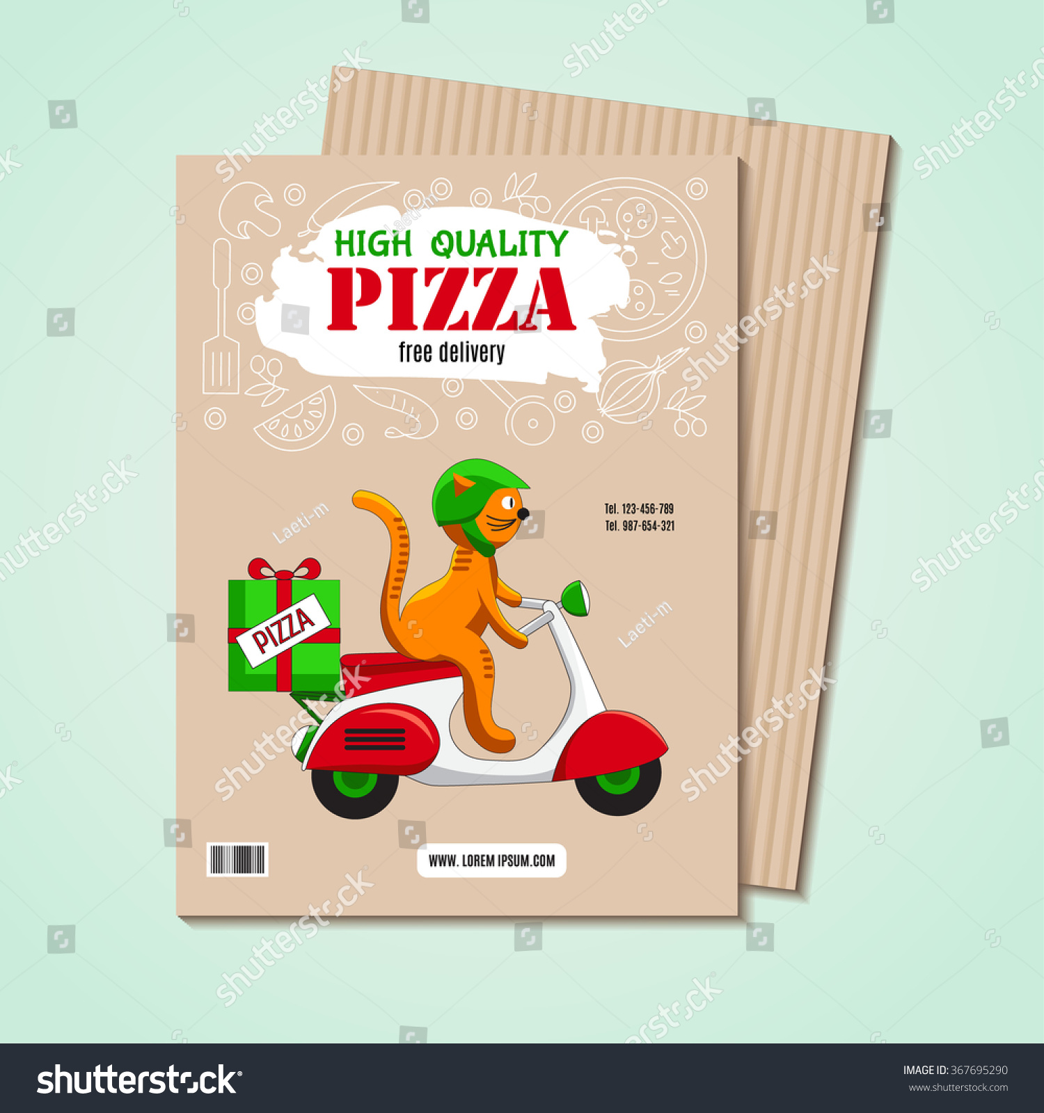 Business Card Flyer Image Ingredients Pizza Stock Vector 367695290 ...