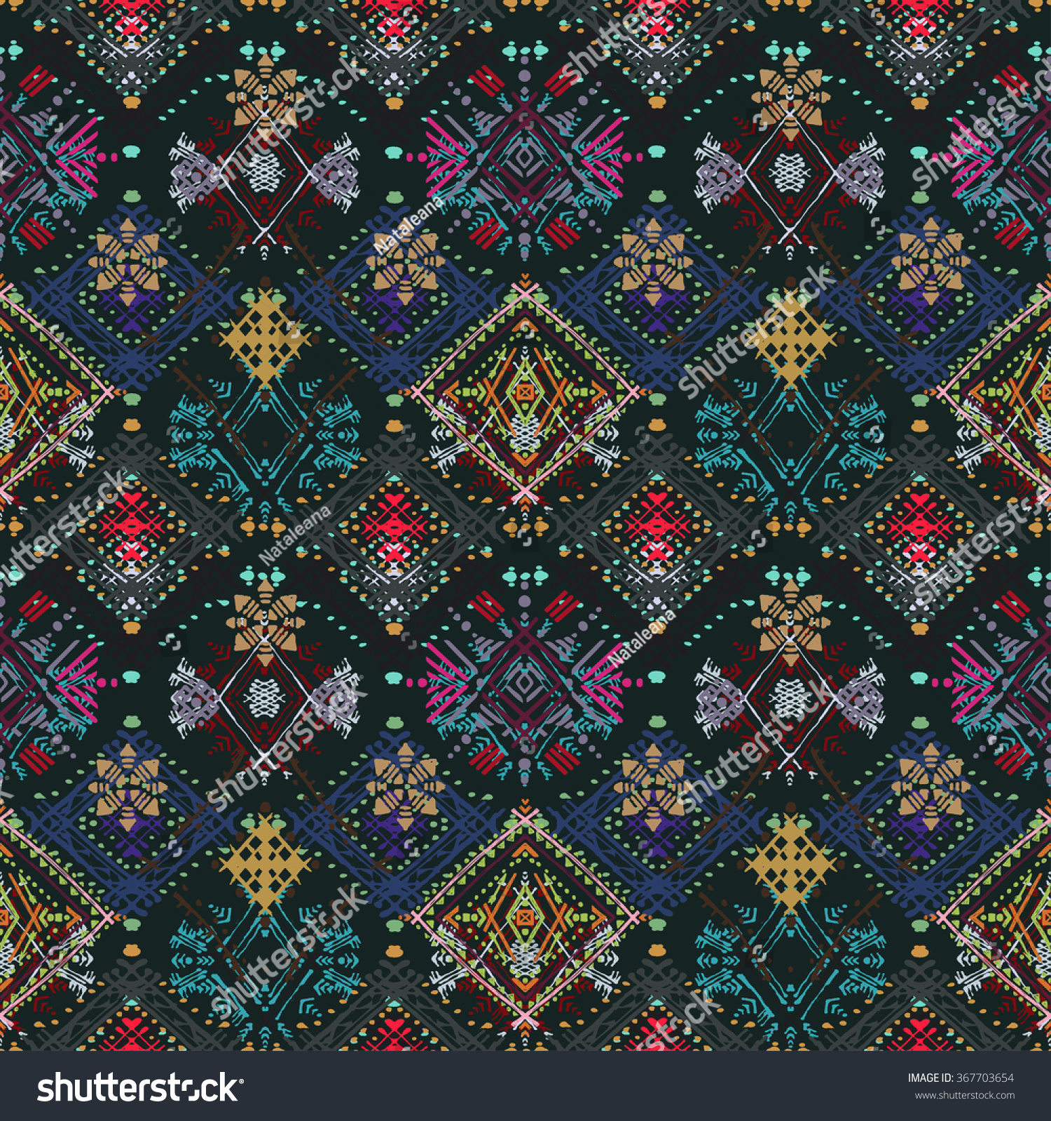 Abstract ethnic seamless pattern Tribal art boho print hand drawn vintage ornament Background texture wallpaper wrapping
