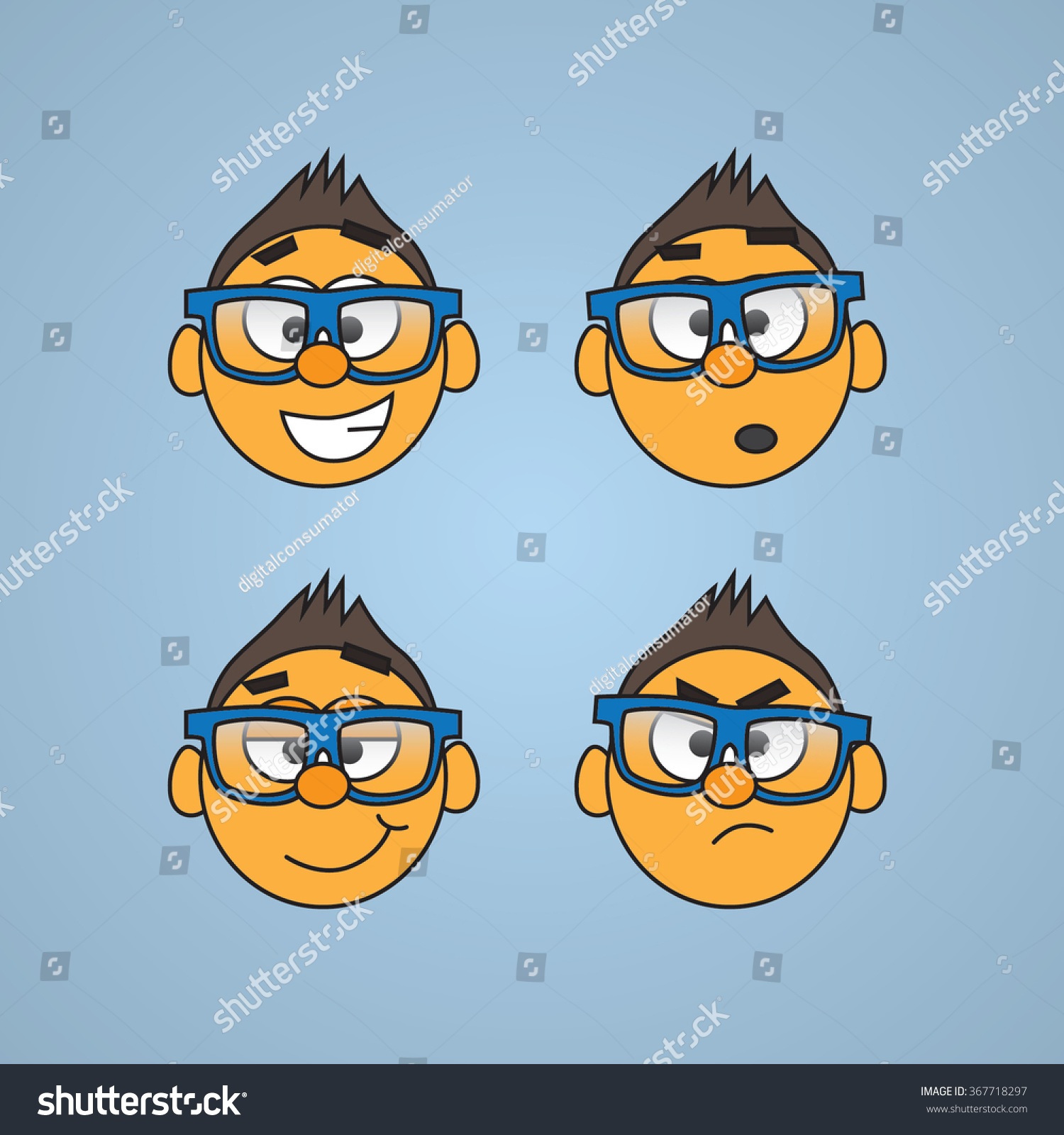 Superior Set Of Vector Drawn Faces With Blue Glasses   Smiles, Different Moods Great Ideas