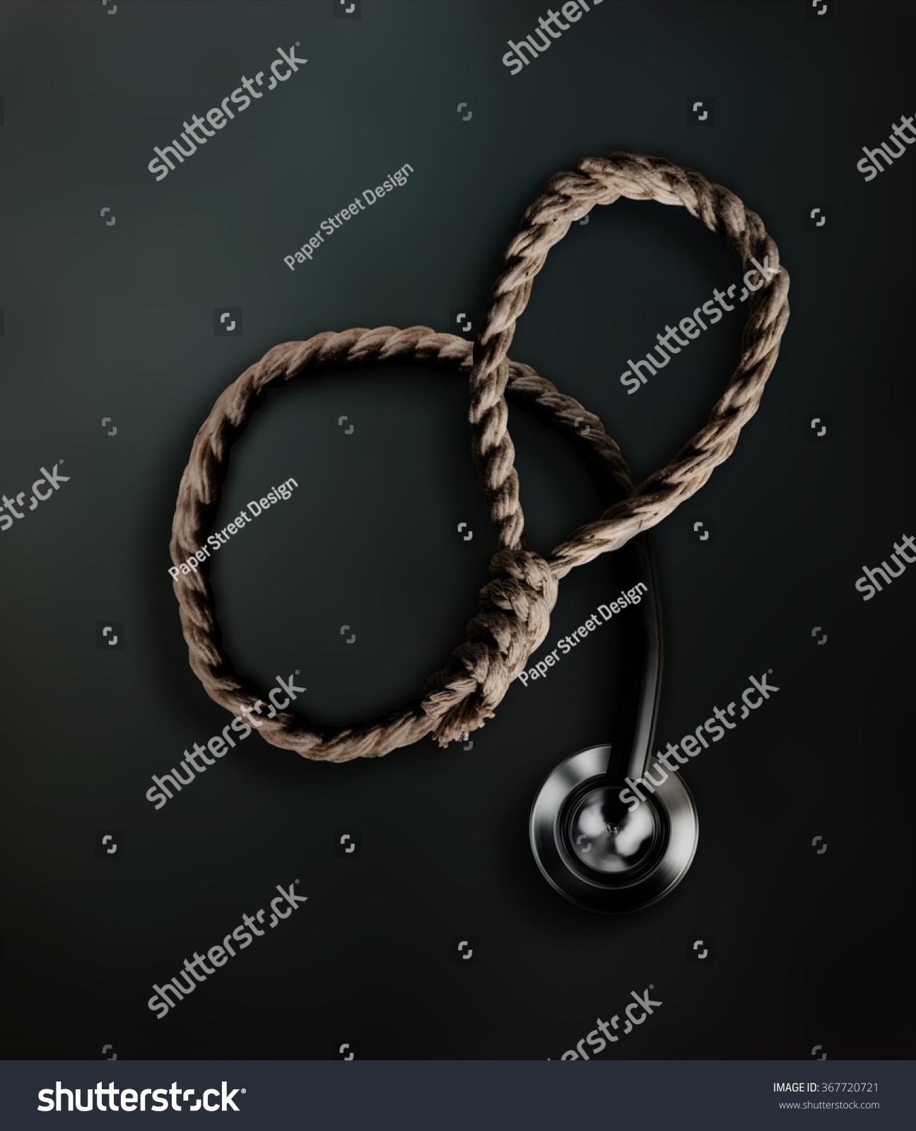Hangmans Noose Transforming Into Doctors Stethoscope Stock