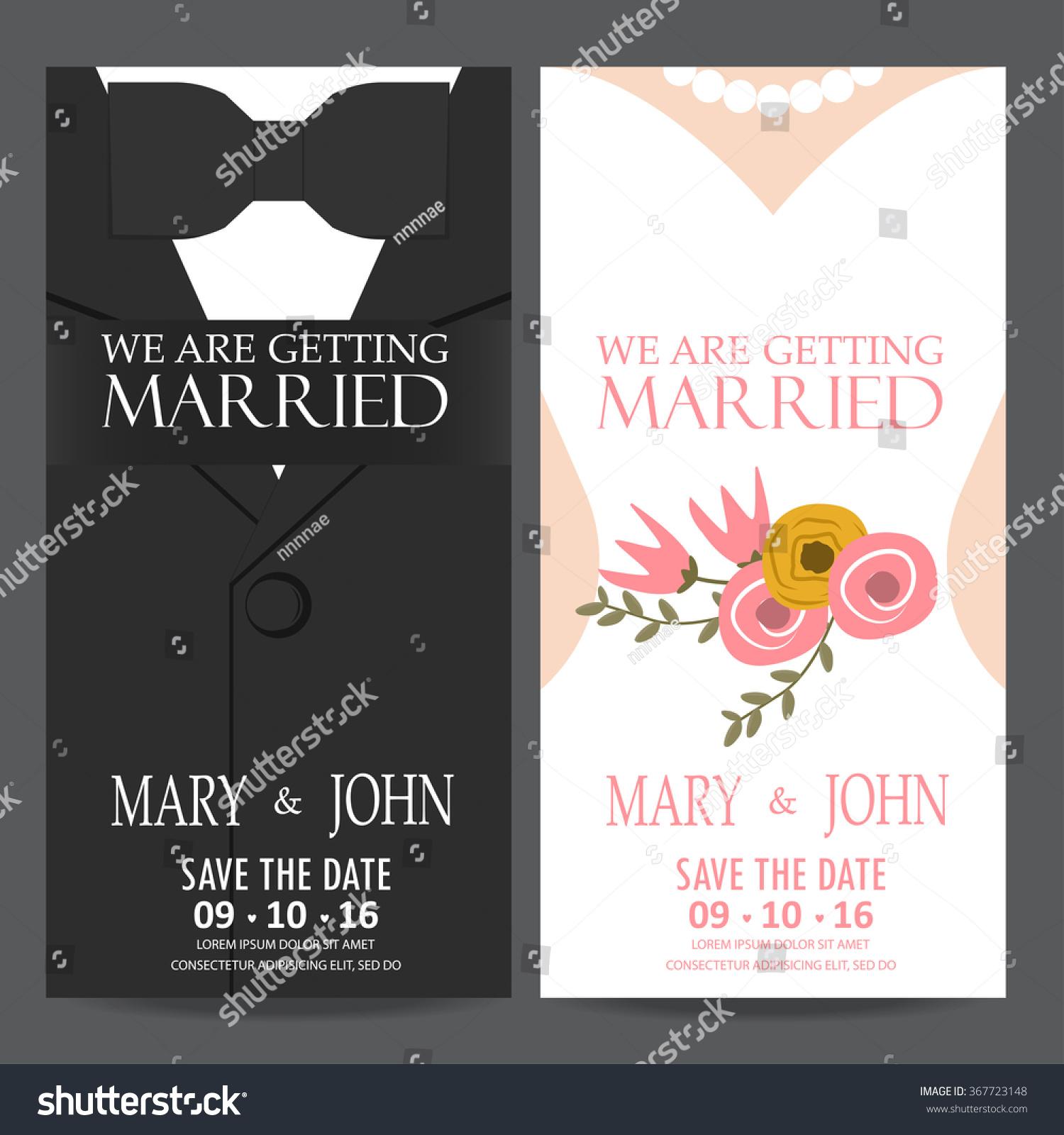 Wedding Invitation Card Bride Groom Dress Stock Vector 367723148 ...