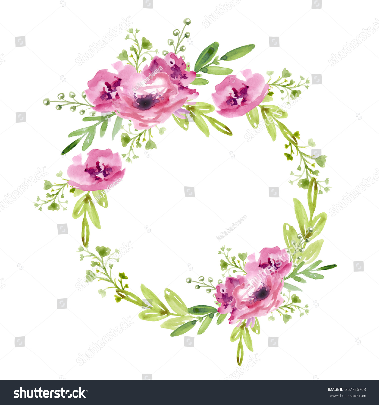 Floral Wreath With Pink Flowers Ez Canvas