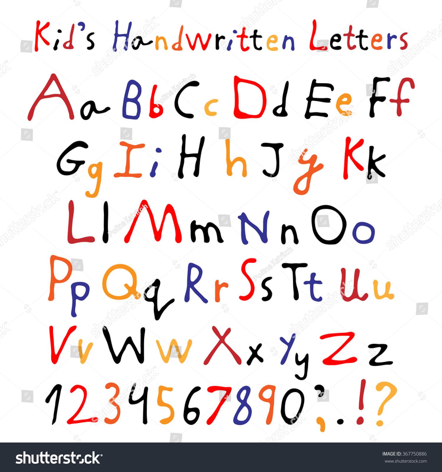 Worksheets Script Alphabet For Kids kids handwritten letters full alphabet numbers stock vector and childrens script font