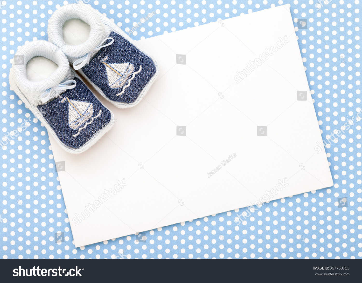 Baby Invitation Card Blue Shoes On Stock Photo Edit Now 367750955