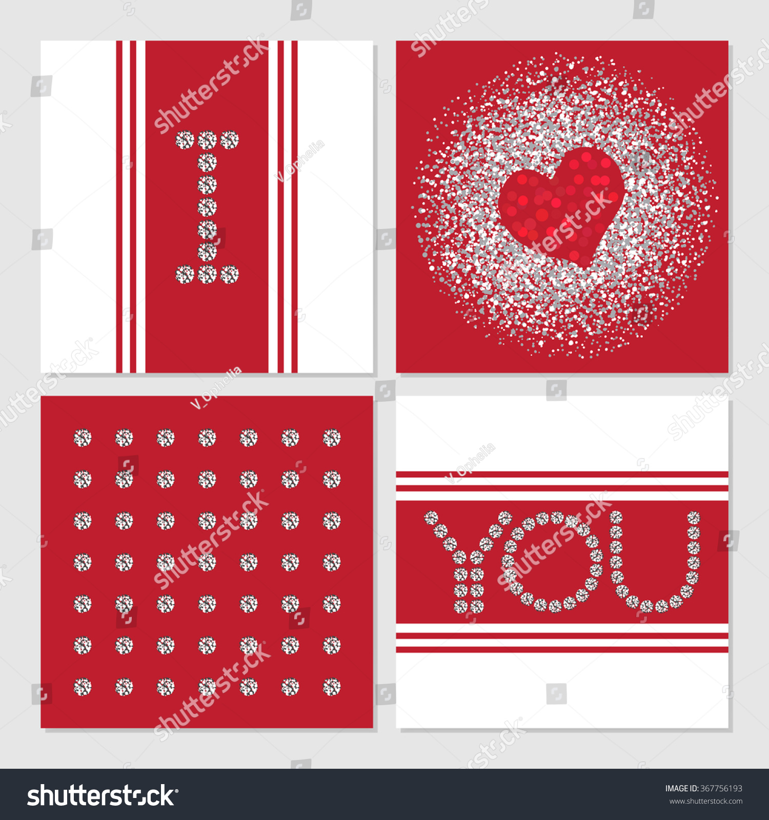 Valentines Day Greeting Cards Set Valentines Stock Vector (Royalty ...