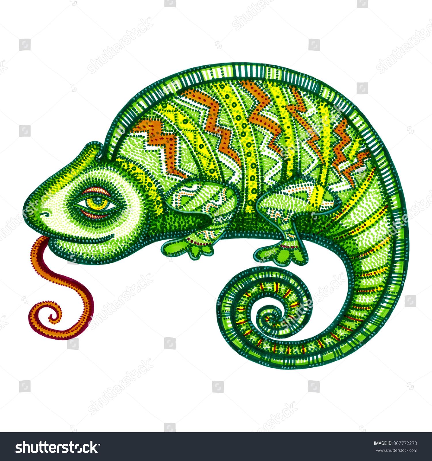 Chameleon Outline Tattoo: Chameleon Stock Photo 367772270 : Shutterstock