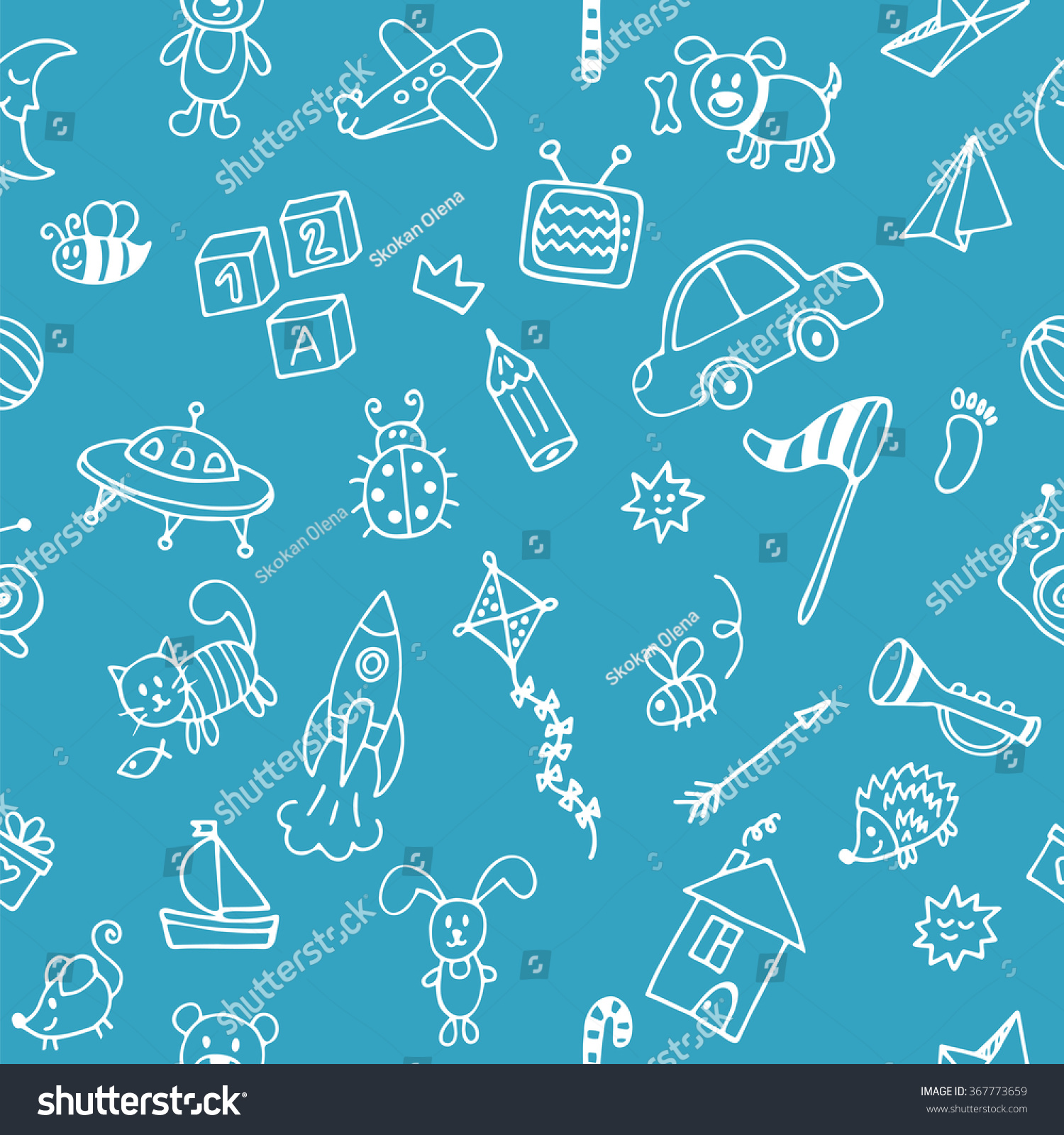 Background Cute Little Boys Hand Drawn Stock Vector (Royalty Free ...