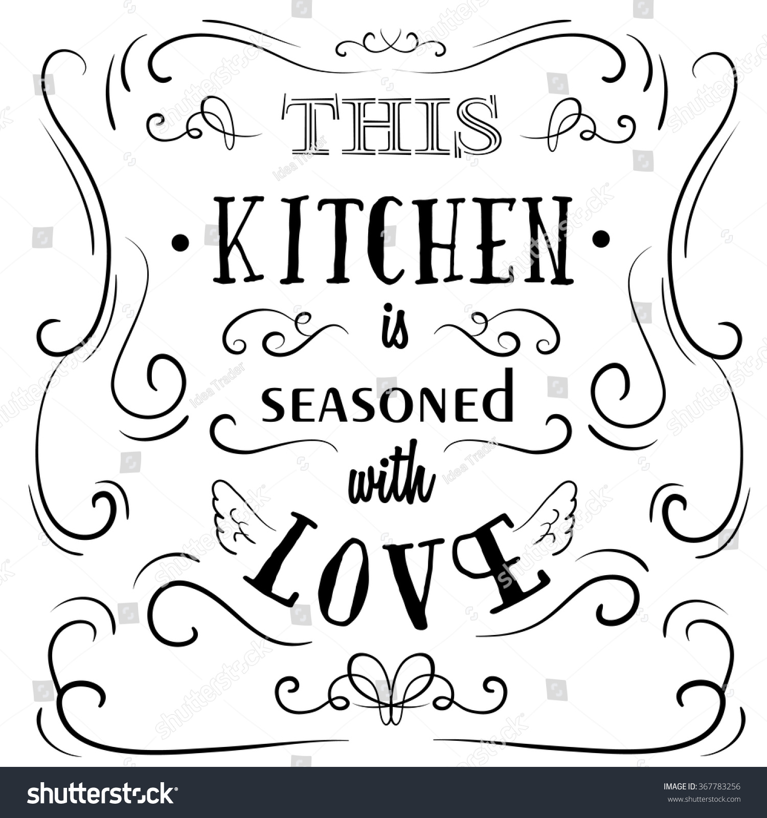 This Kitchen Seasoned Love Quote Typographical Stock Vector Royalty Free 367783256