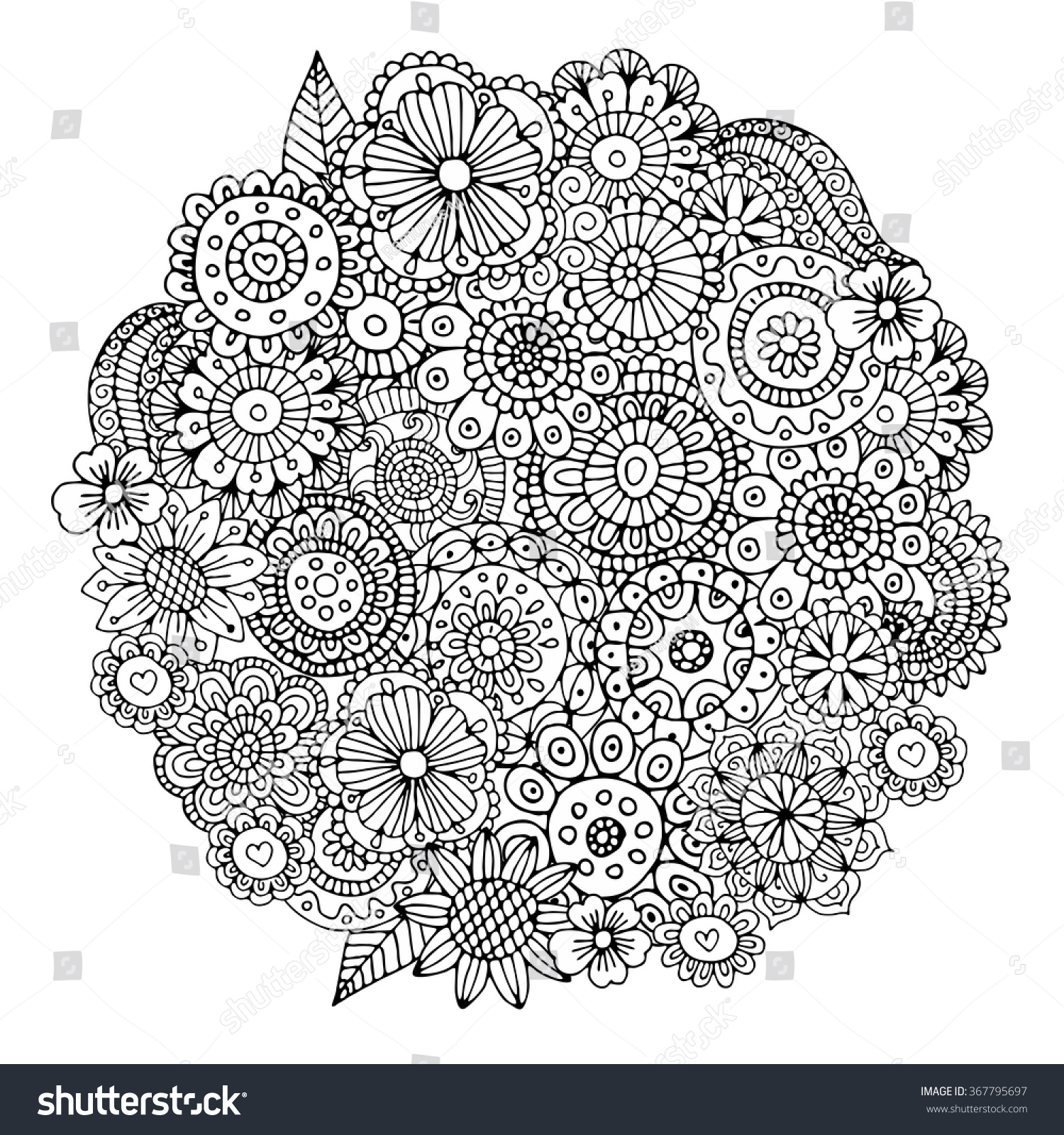 Flowers Circle Zentangle Pattern Coloring Book Stock Vector