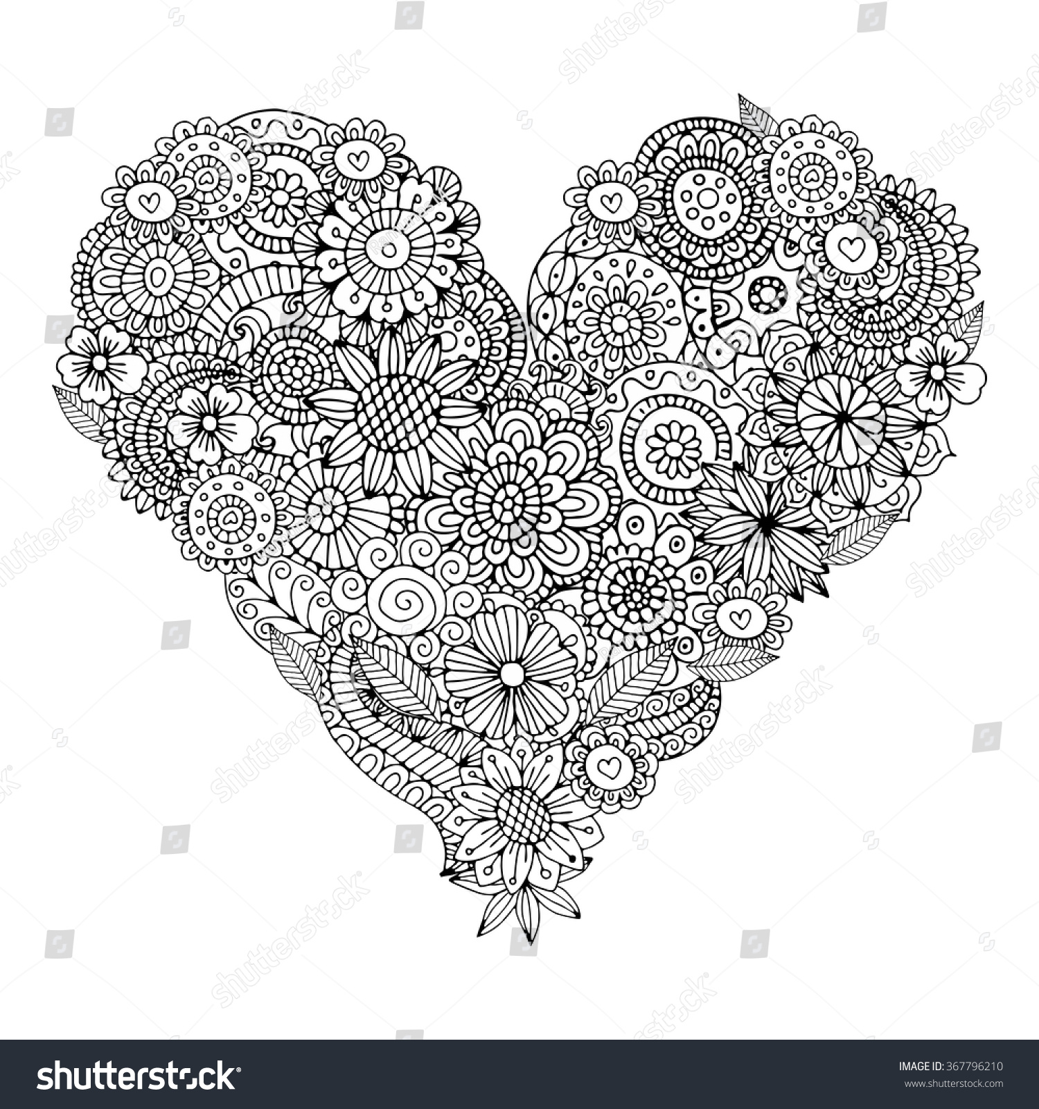 Heart Shaped Flowers Zentangle Pattern Coloring Stock Vector ...