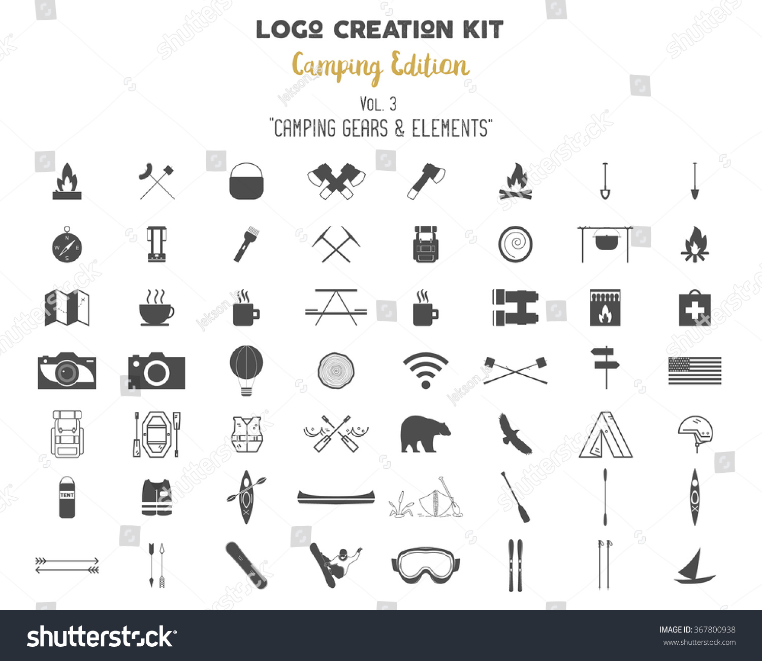 outdoor icons set hiking camping logo stock vector