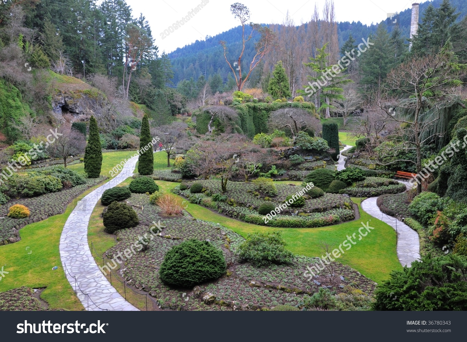 Winter look sunken garden landscaping inside stock photo for Gardening tools victoria bc