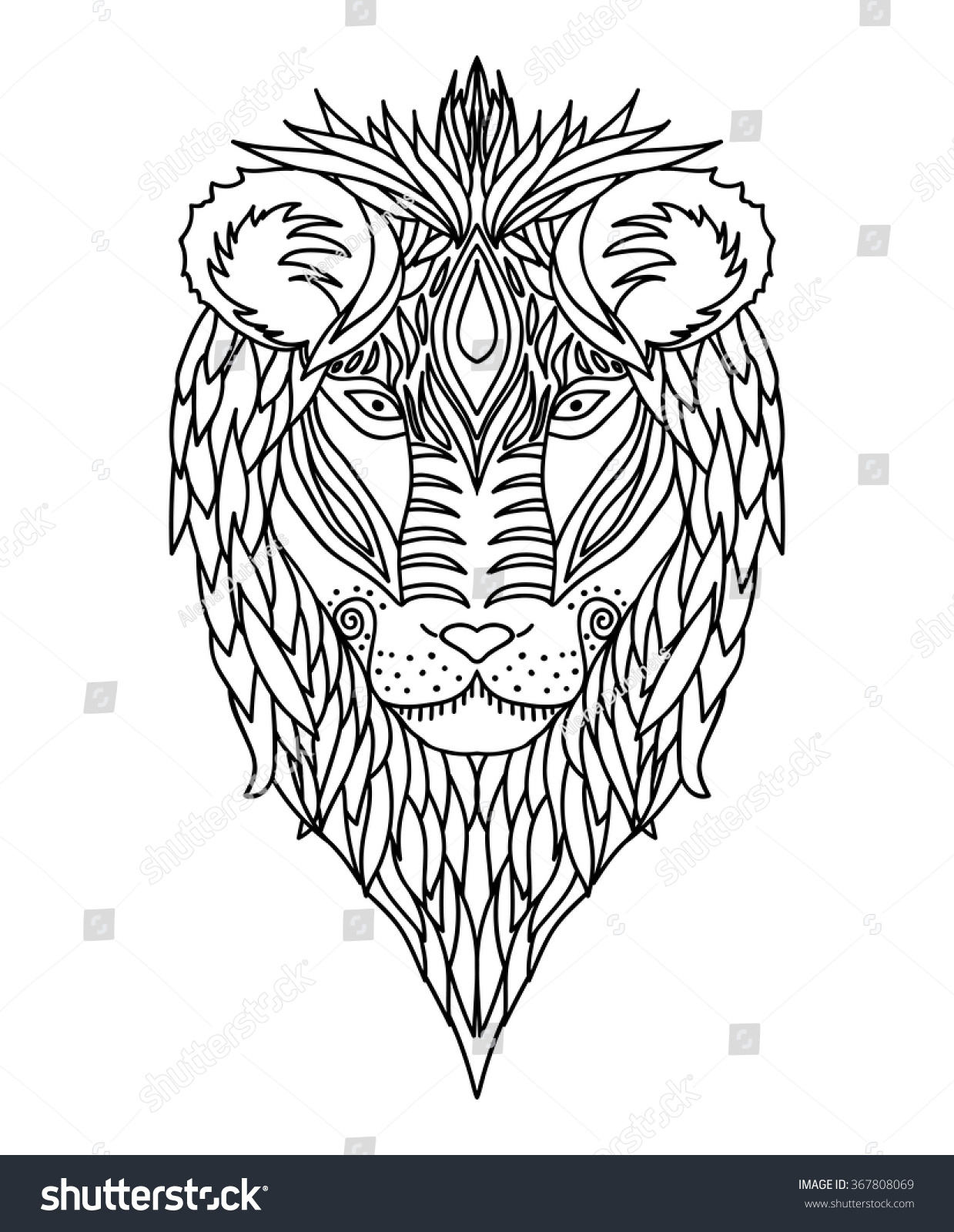 Coloring book for adults lion - Black And White Ornament Of The Face Of The African Wild King Of Beasts Lion Design
