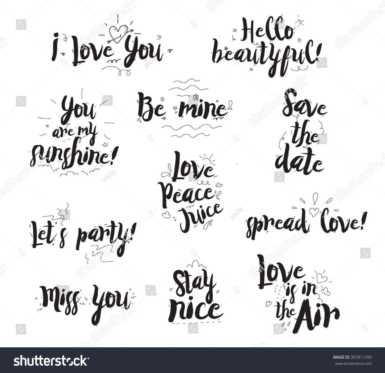 Romantic Phrases Set Typographical Design Quotes Stock Vector ...