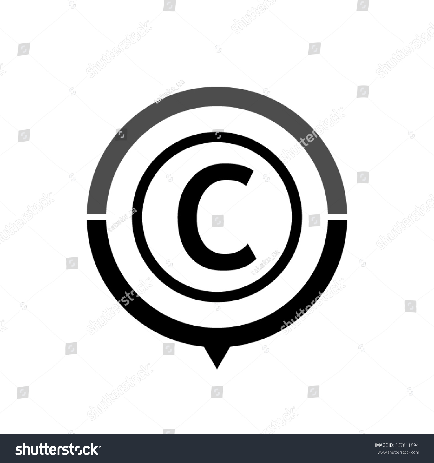 Copyright Symbol Black Vector Icon Map Stock Vector Royalty Free