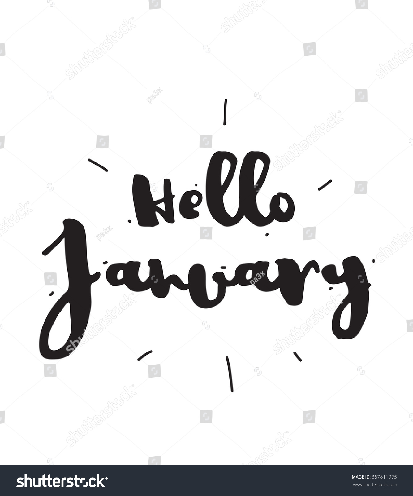 Hello January Hand Drawn Design Calligraphy Stock Vector