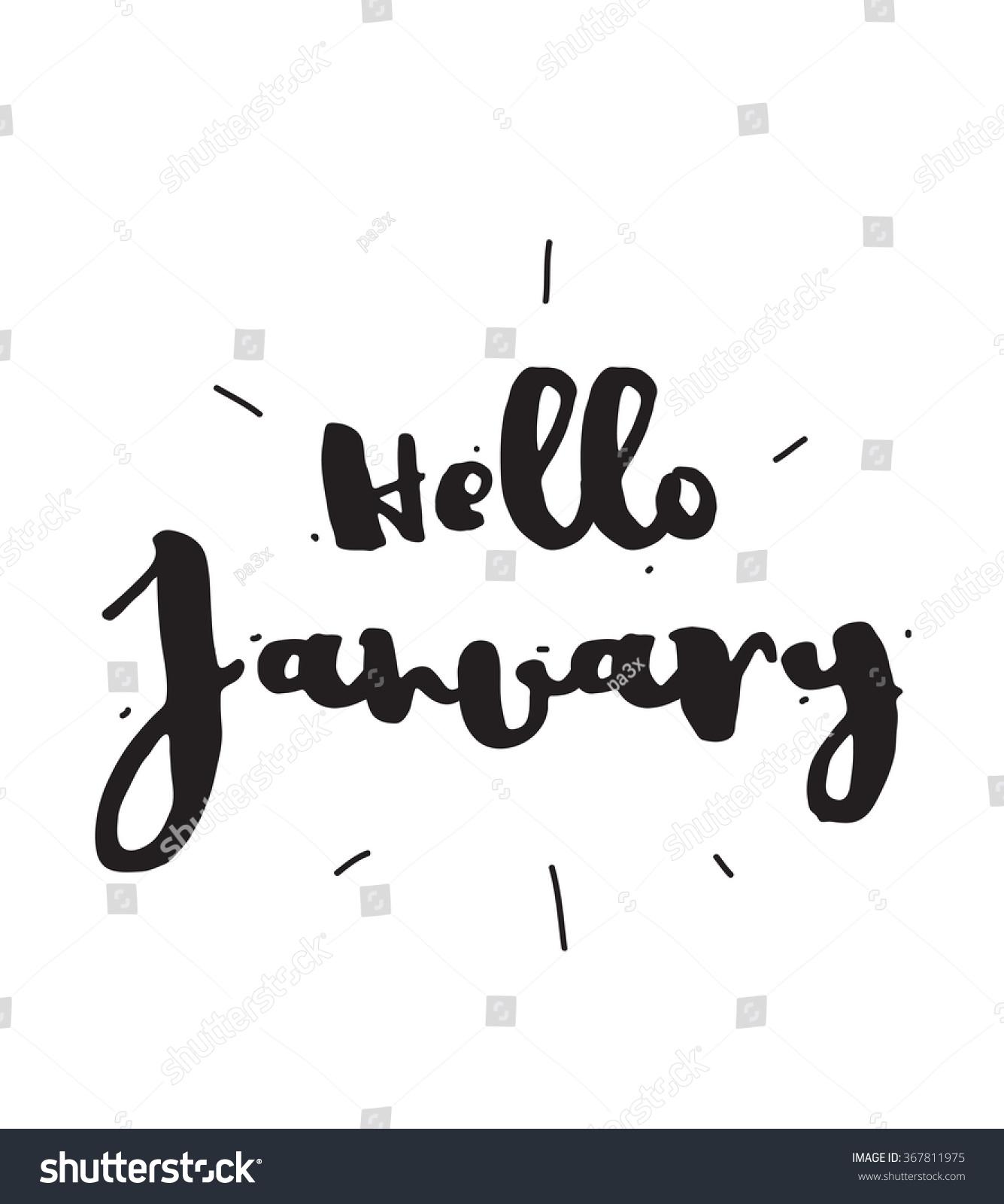 Hello January Hand Drawn Design Calligraphy Stock Vector