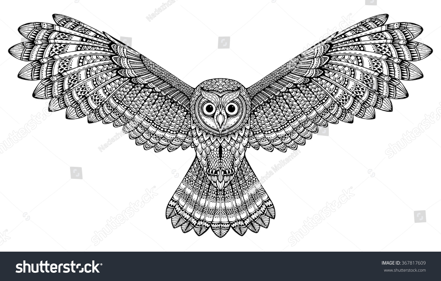 Flying owl drawings black and white - photo#9