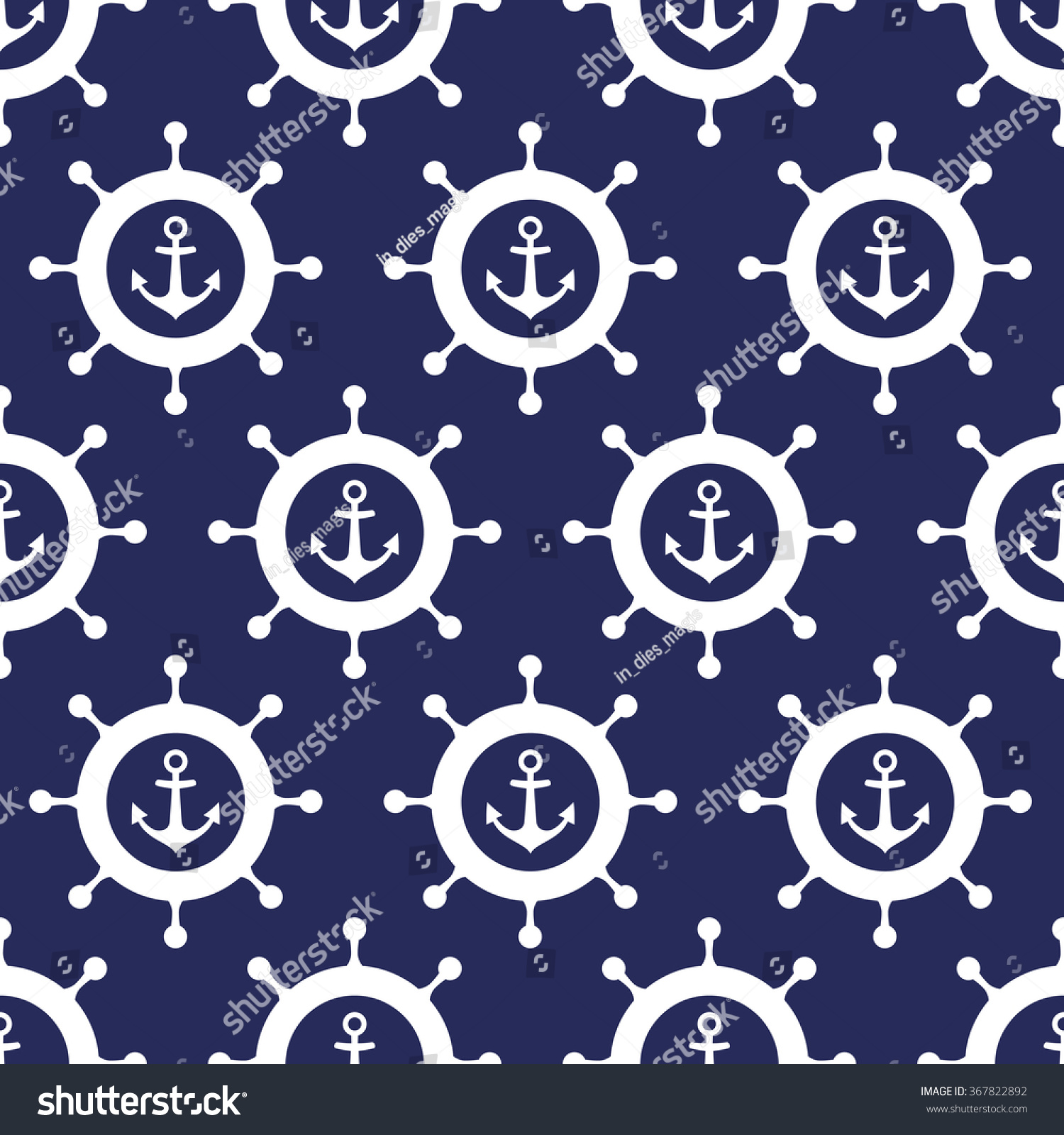 cute nautical background navy vector seamless pattern