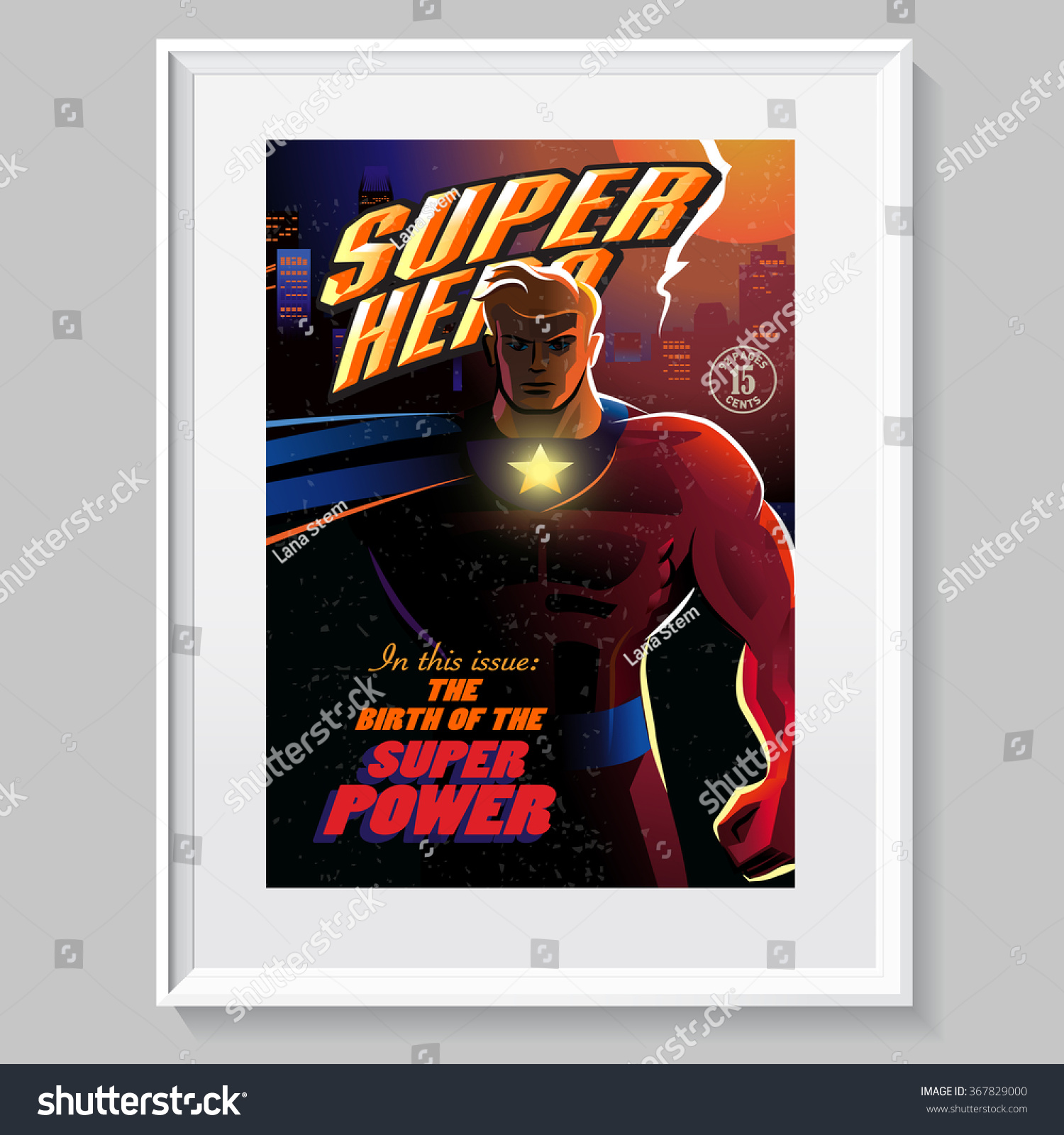 Comic Book Cover Layout : Superhero action fake comic book cover stock vector