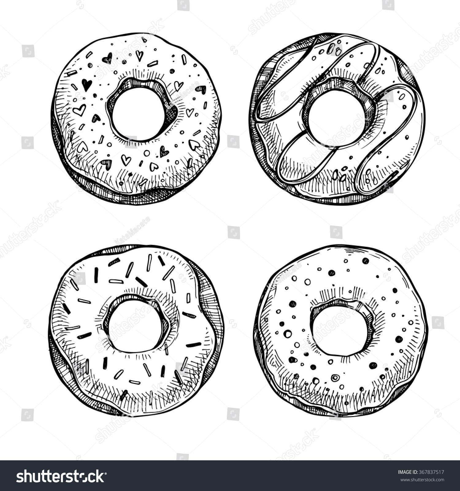 Hand Drawn Vector Illustration - Set Of Tasty Donuts ...