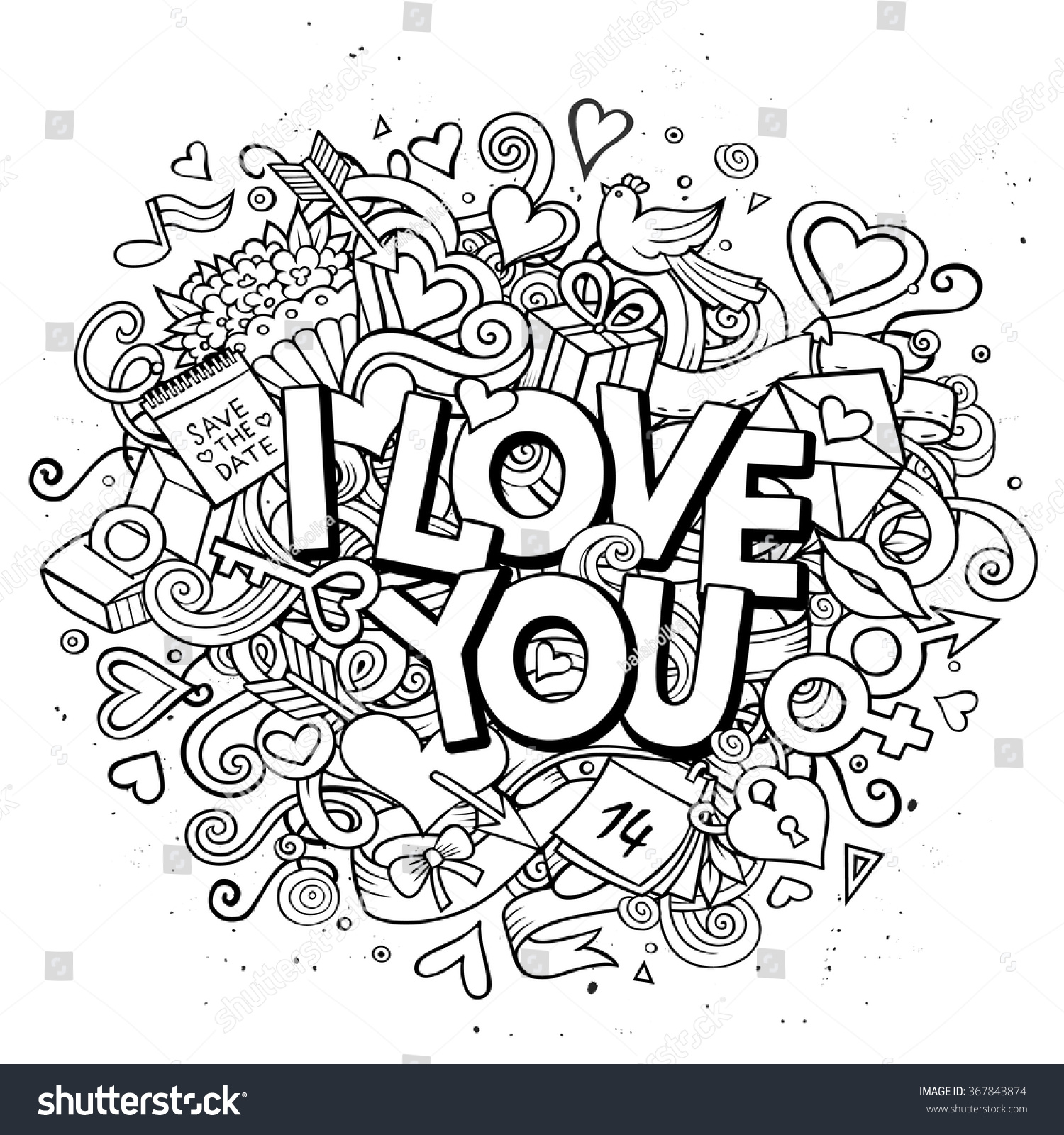 Cartoon Vector Hand Drawn Doodle Love Stock Vector Royalty Free 367843874