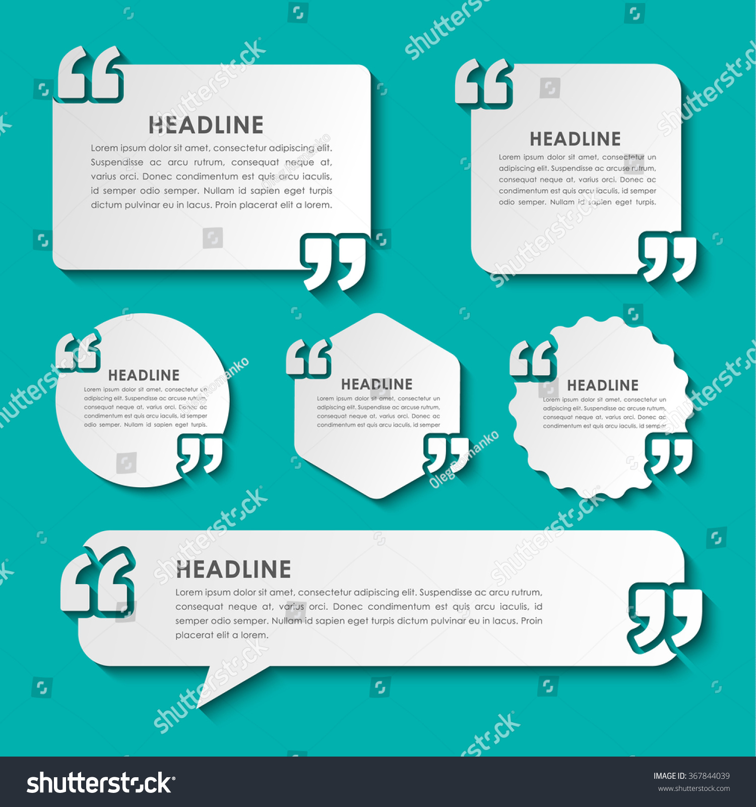 Orcl Stock Quote Set Bubbles Quotes Various Shapes Shadow Stock Vector 367844039