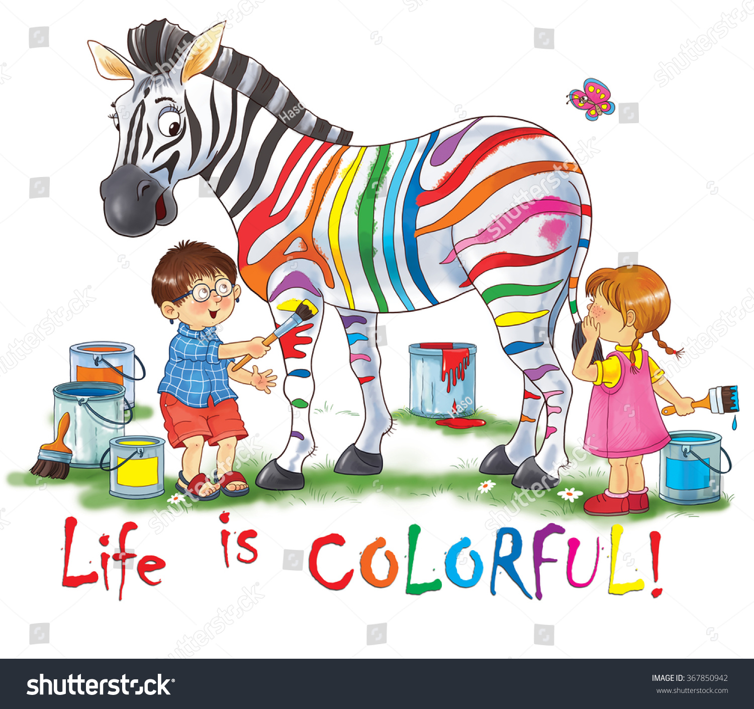 zoo animals africa funny zebra cute stock illustration 367850942