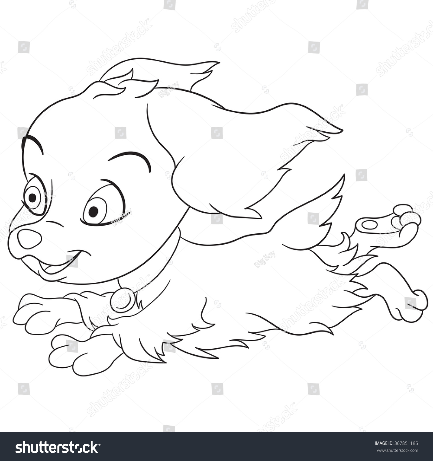 Coloring Page Cartoon Spaniel Puppy Dog Stock Vector Royalty Free