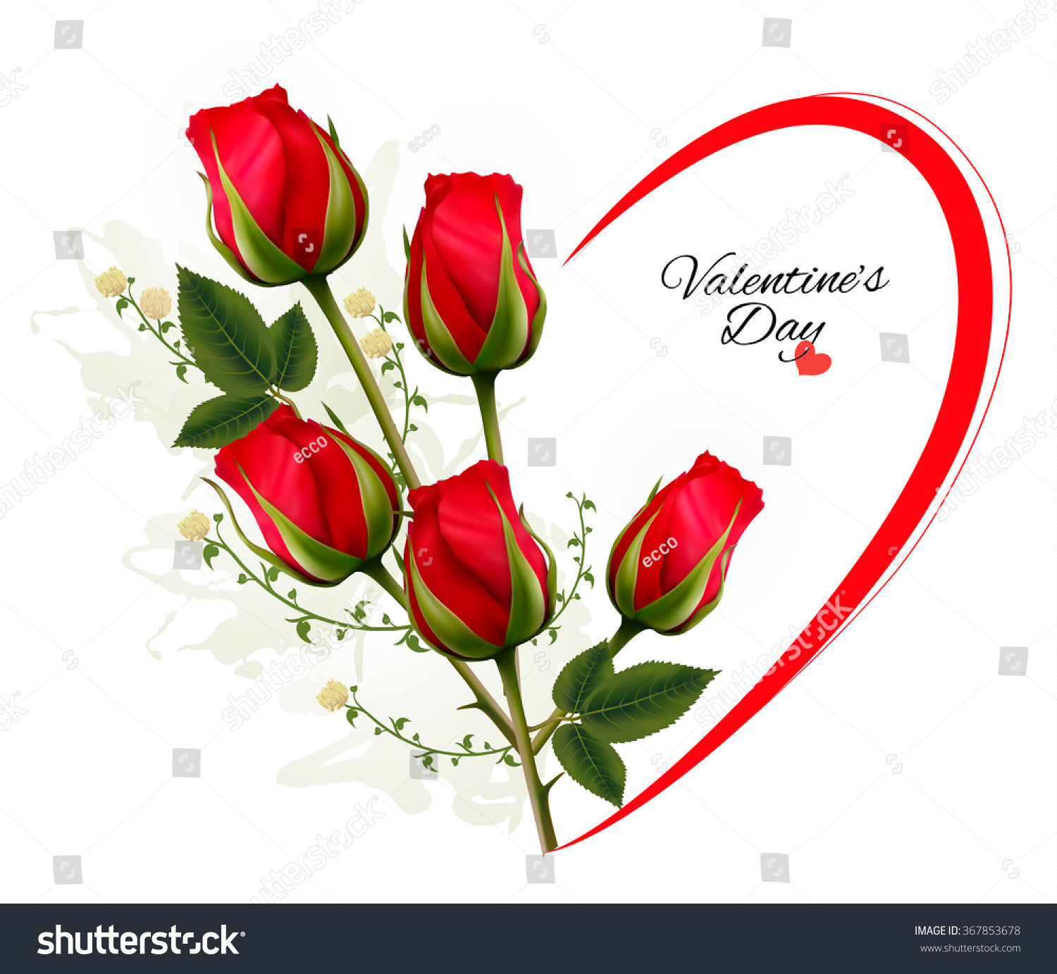 valentines day background bouquet red roses stock vector 367853678