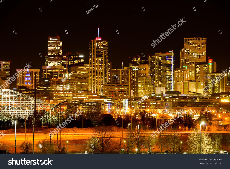Denver, Colorado, USA - December 09, 2015: A panoramic night view of ...