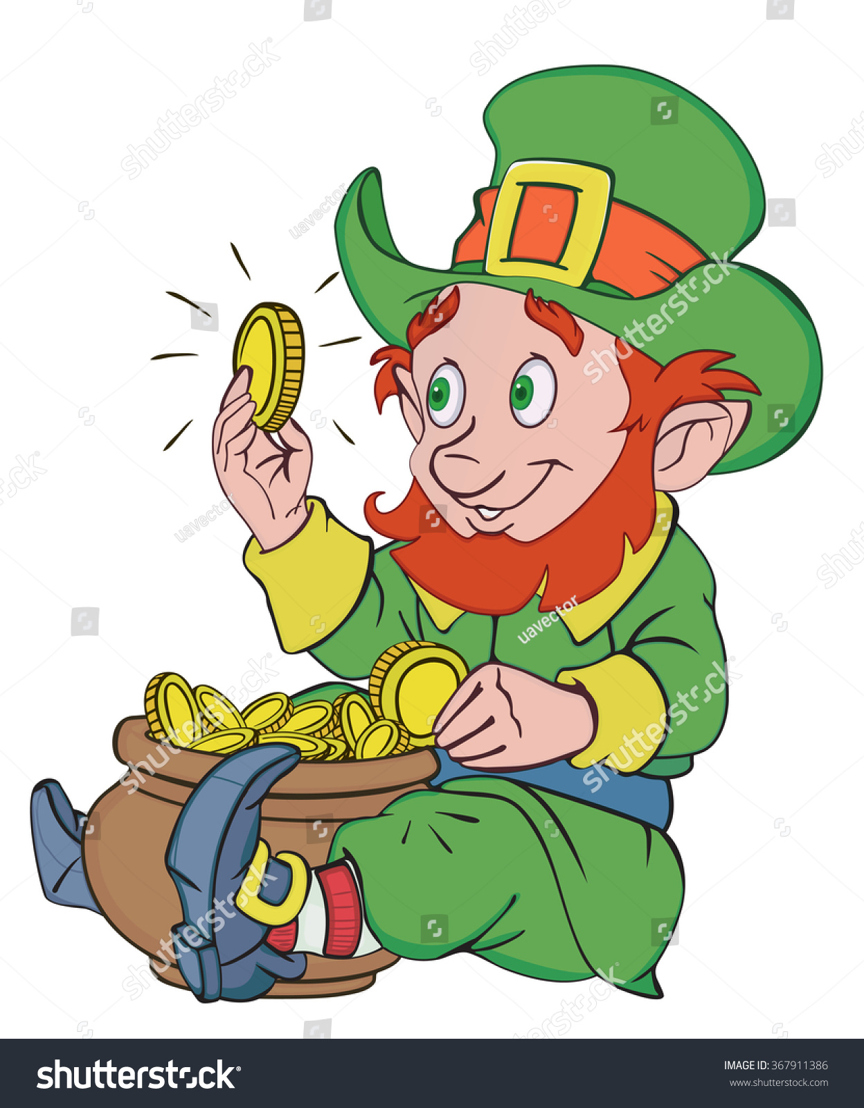 happy leprechaun pot gold stock vector 367911386 shutterstock