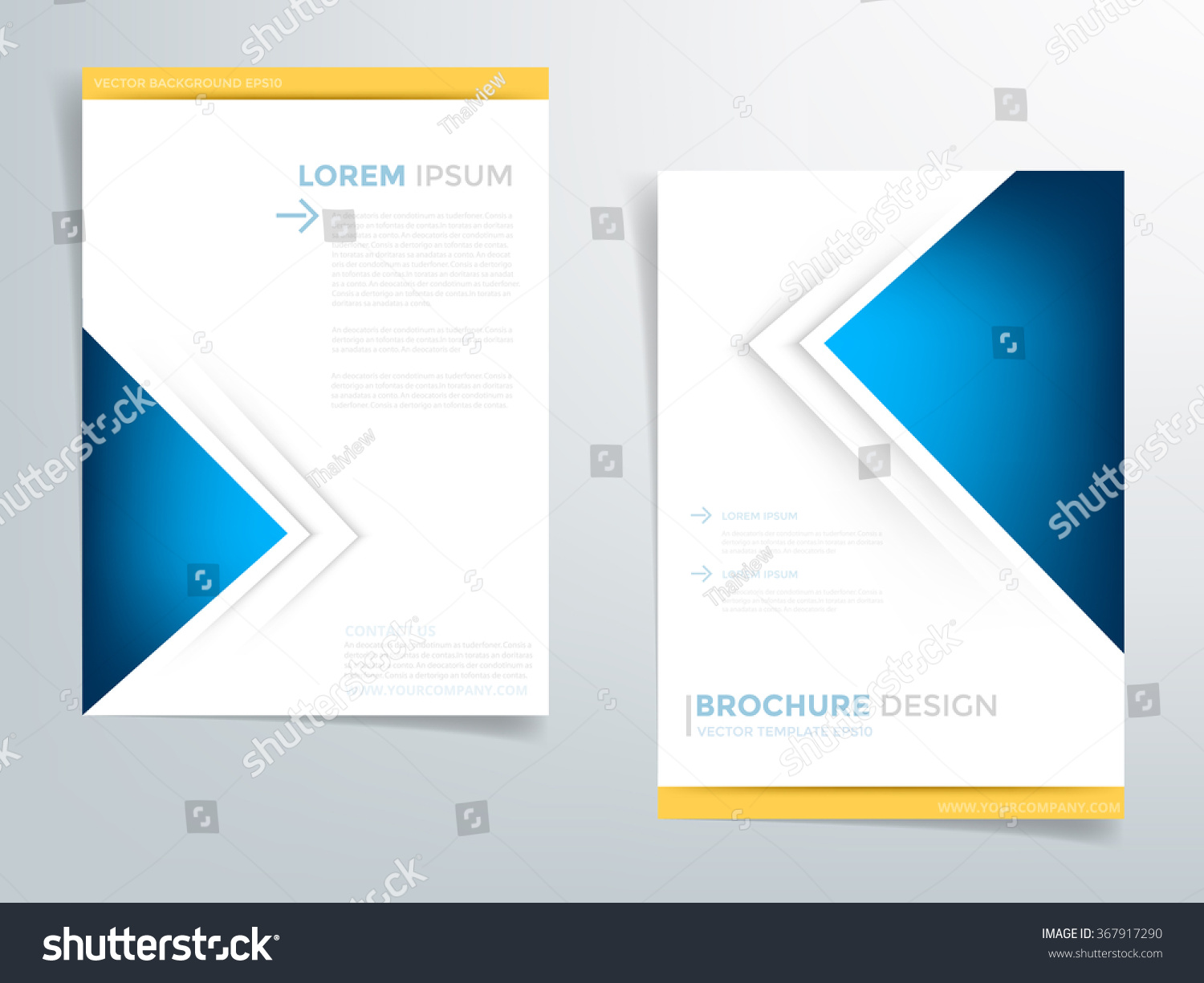 Blue brochure template flyer design background stock for Background brochure templates