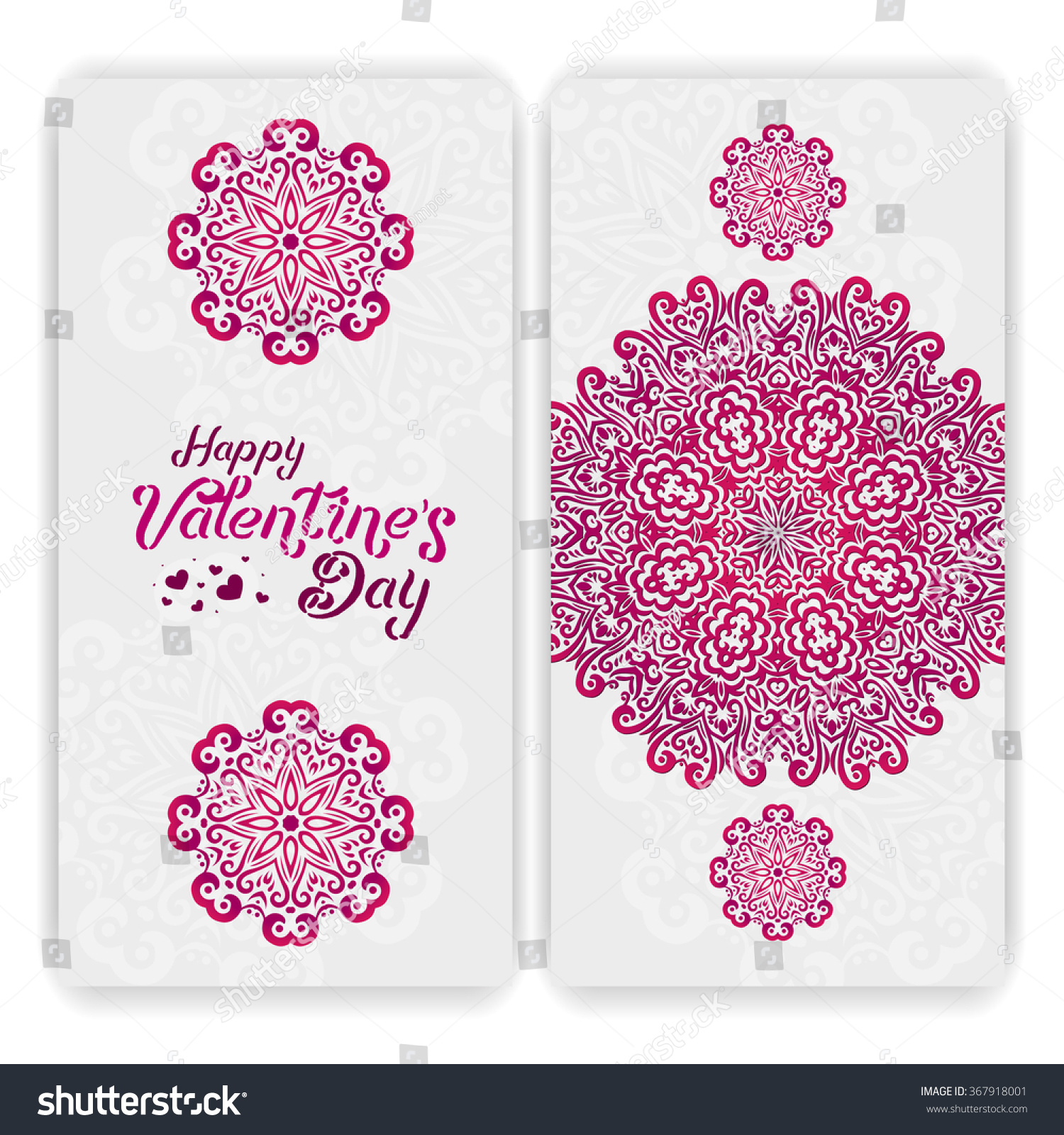 Valentines Day Card Template Lacy Romantic Stock Vector Royalty