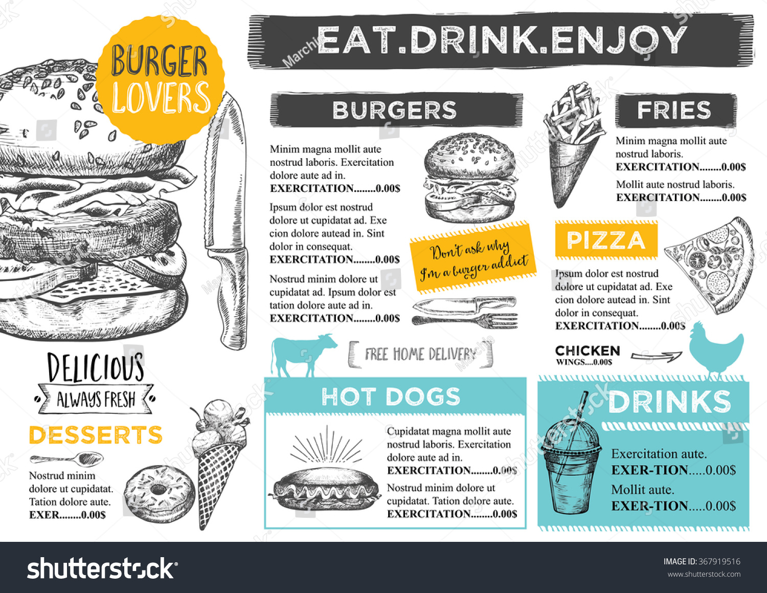 Restaurant brochure vector menu design stock