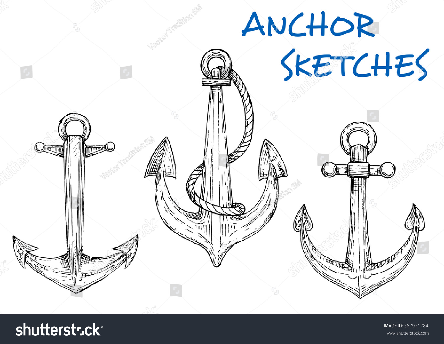 Nautical sketch old ship anchors icons stock vector 367921784 nautical sketch of old ship anchors icons with rings and attached rope navy emblem buycottarizona
