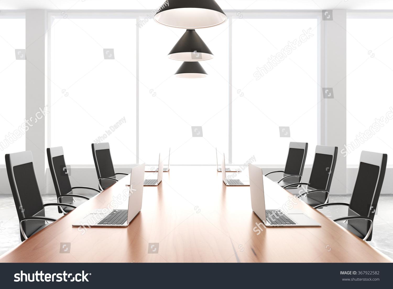 Modern Conference Room Furniture Laptops Big Stock Photo