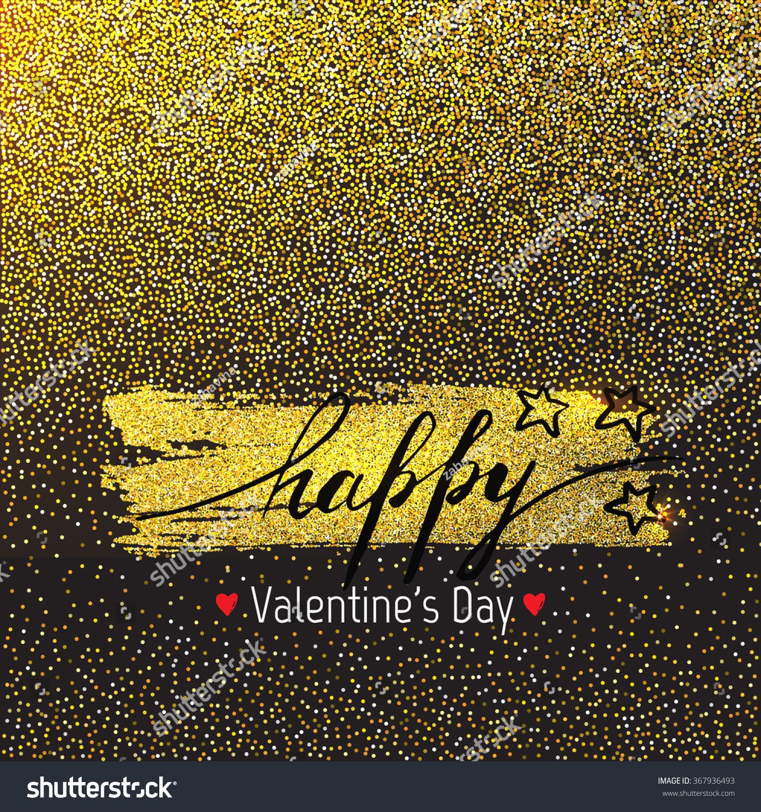happy valentines day template design golden stock vector 367936493