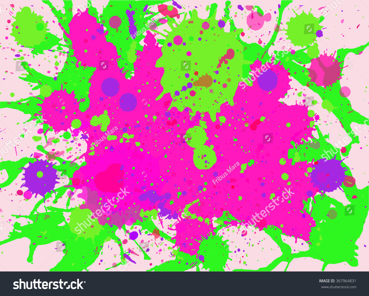 Bright Pink Paint Vibrant Bright Pink Neon Green Watercolor Stock Vector 367964831