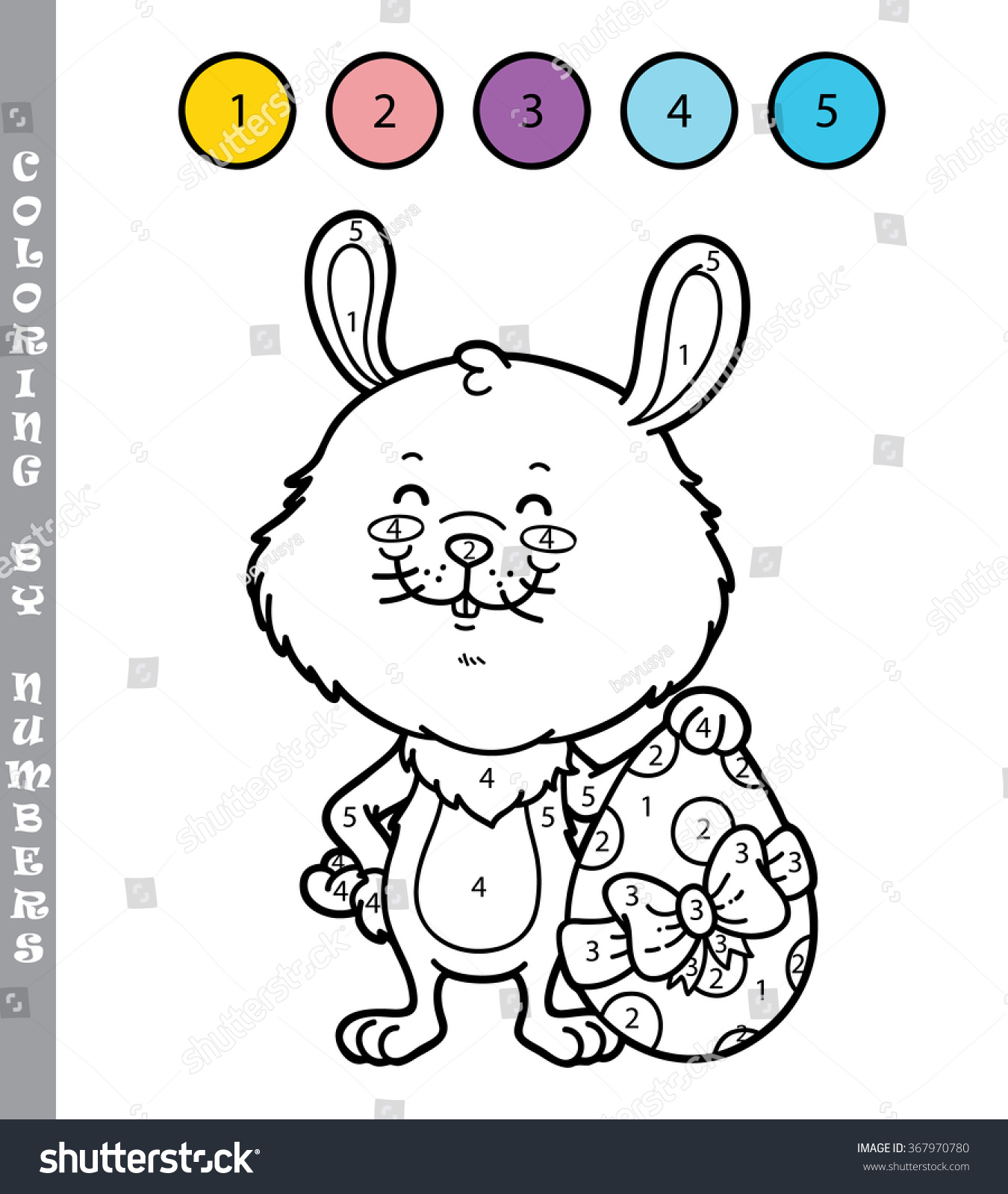Coloring by numbers for rabbits - Save To A Lightbox