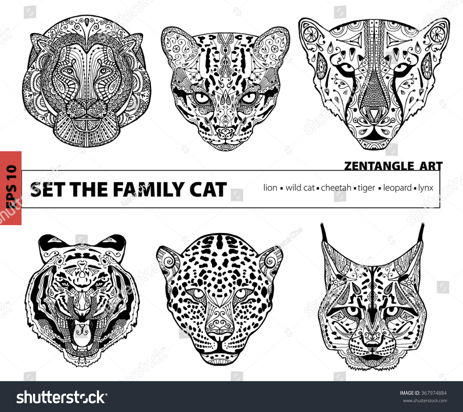 Set The Family Cat Coloring Book For Adults Zentangle Art Pattern Hand