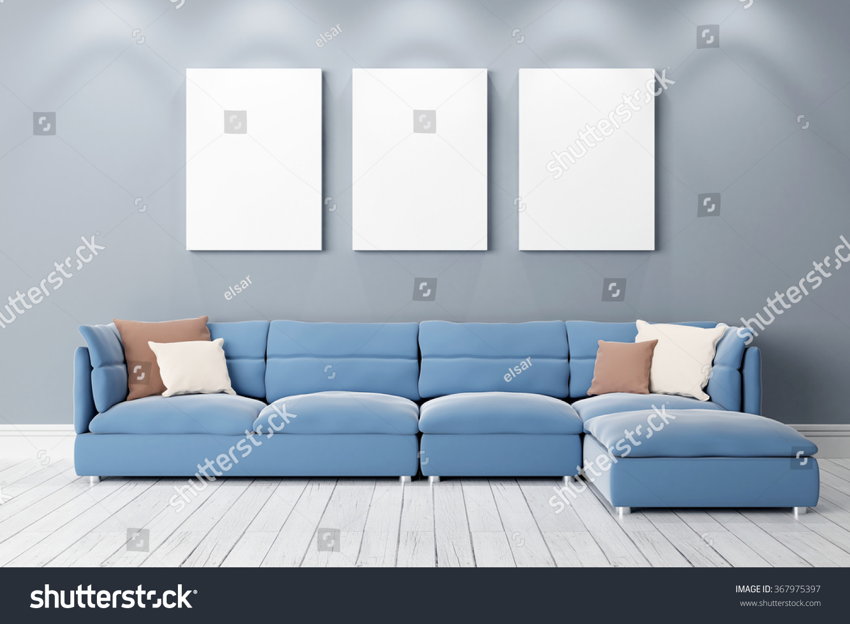 Modern Bright Interior 3d Render Stock Photo 367975397
