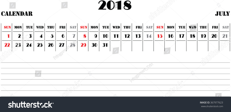 horizontal calendar 2018 vector july stock vector. Black Bedroom Furniture Sets. Home Design Ideas