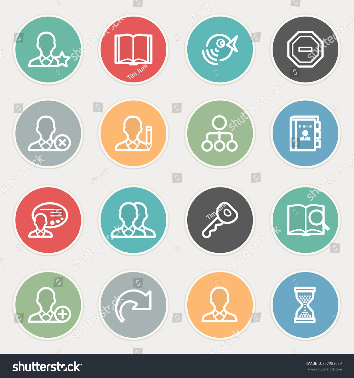 Users Flat Contour Icons On Color Stock Vector 367983689 ...