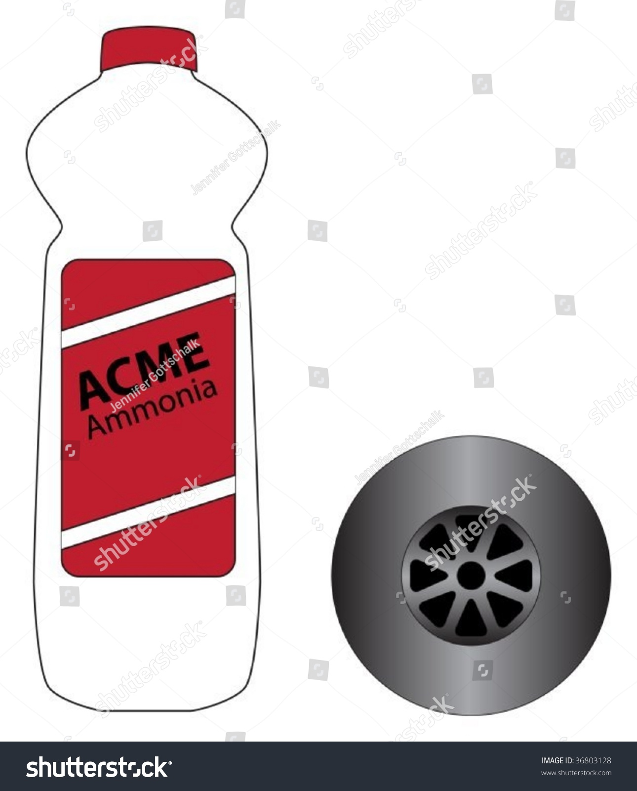 Bottle Of Drain Cleaner Bleach Next To Metallic Plug